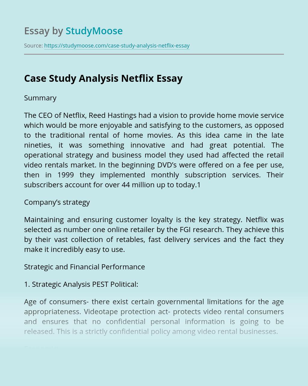 Case Study Analysis Netflix