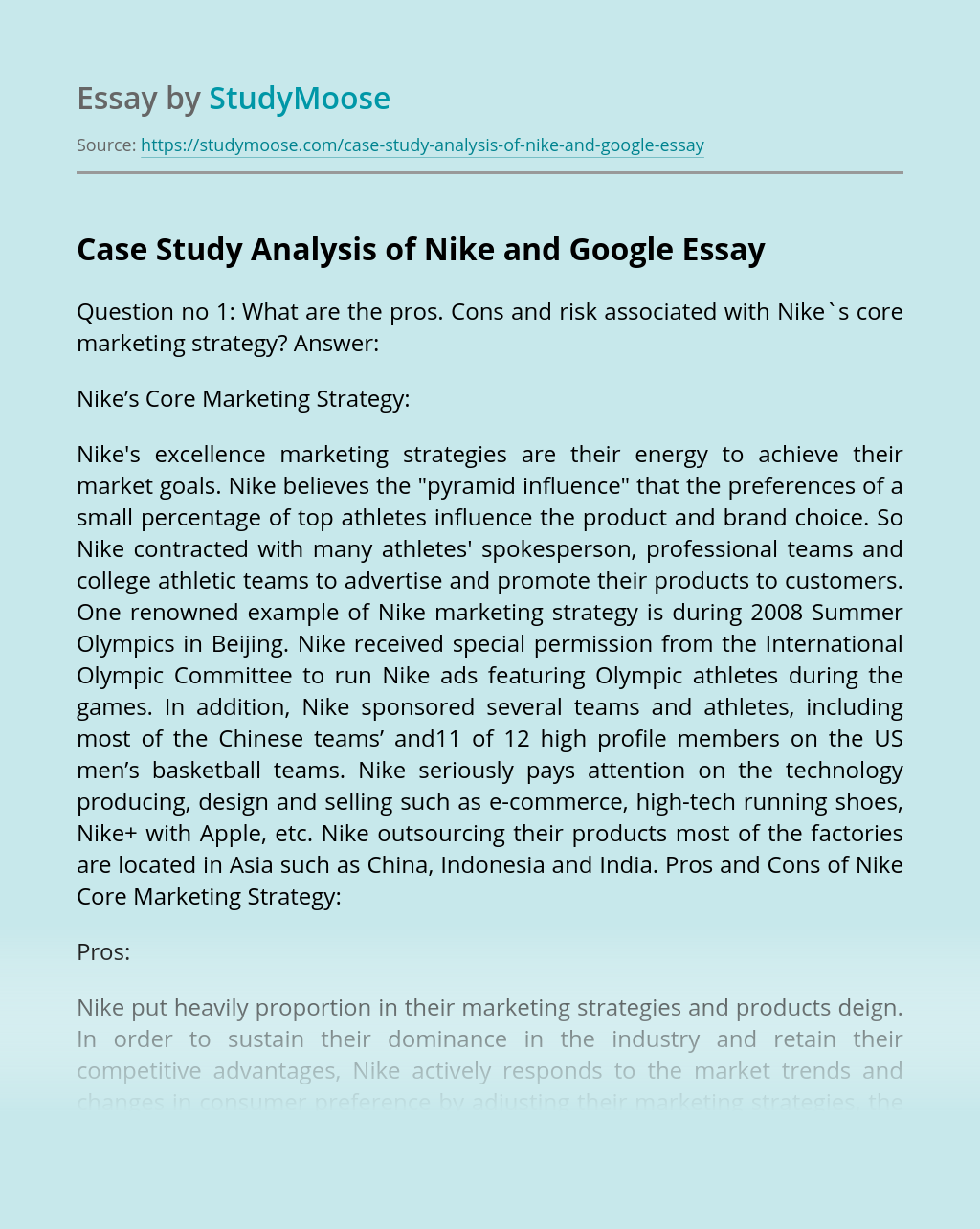 Case Study Analysis of Nike and Google