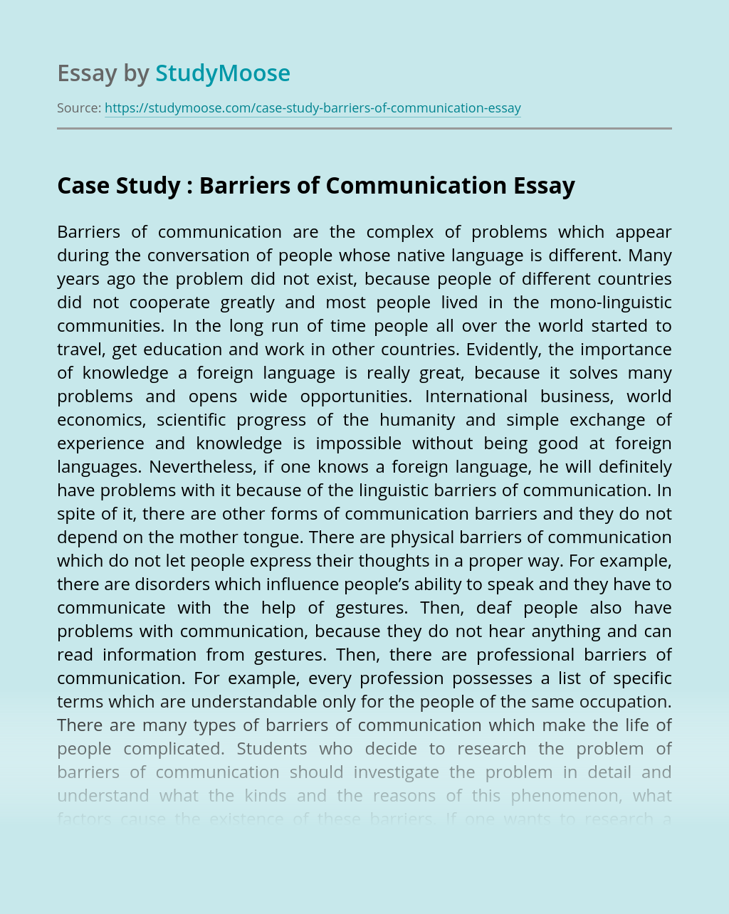 Case Study : Barriers of Communication