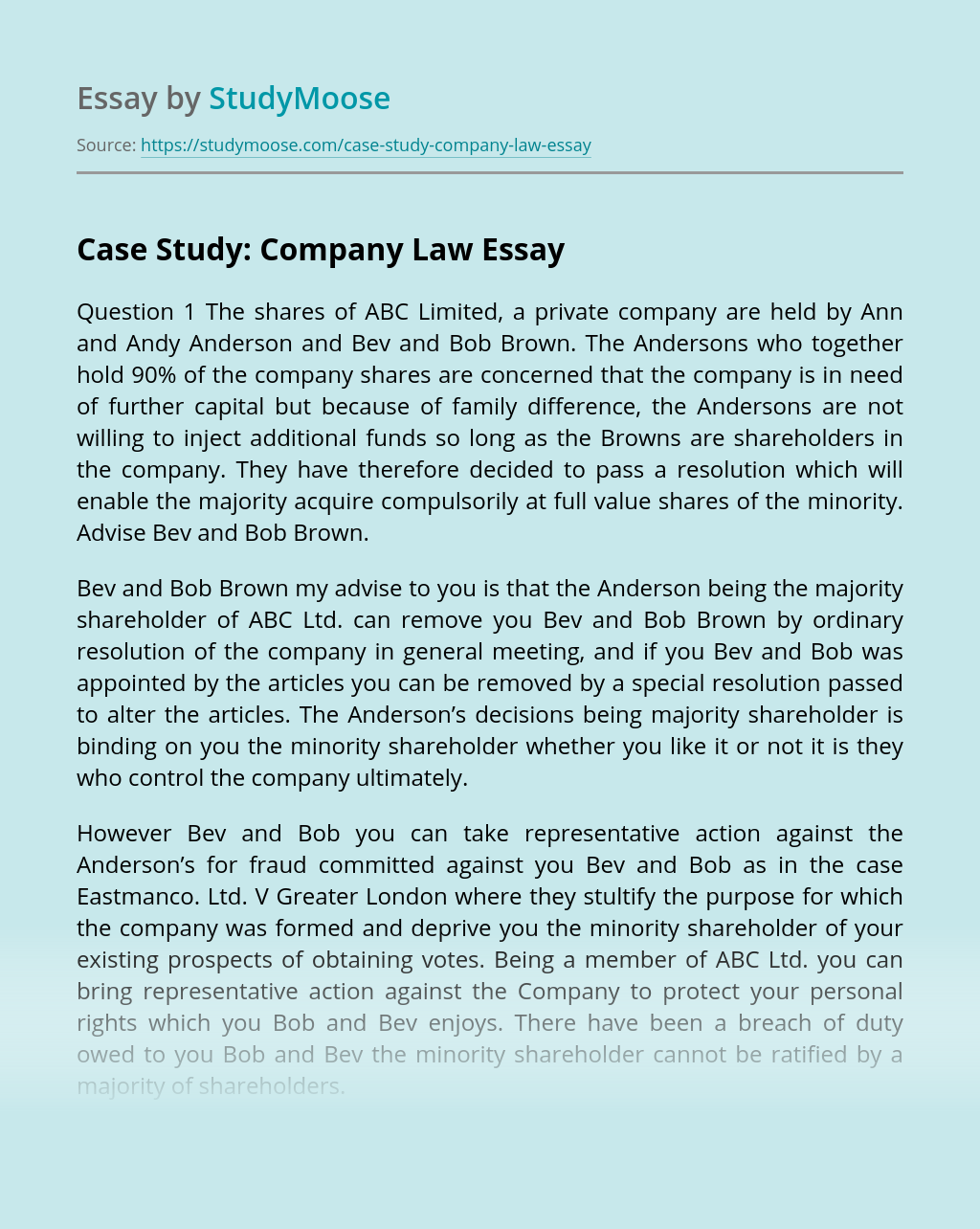 Case Study: Company Law