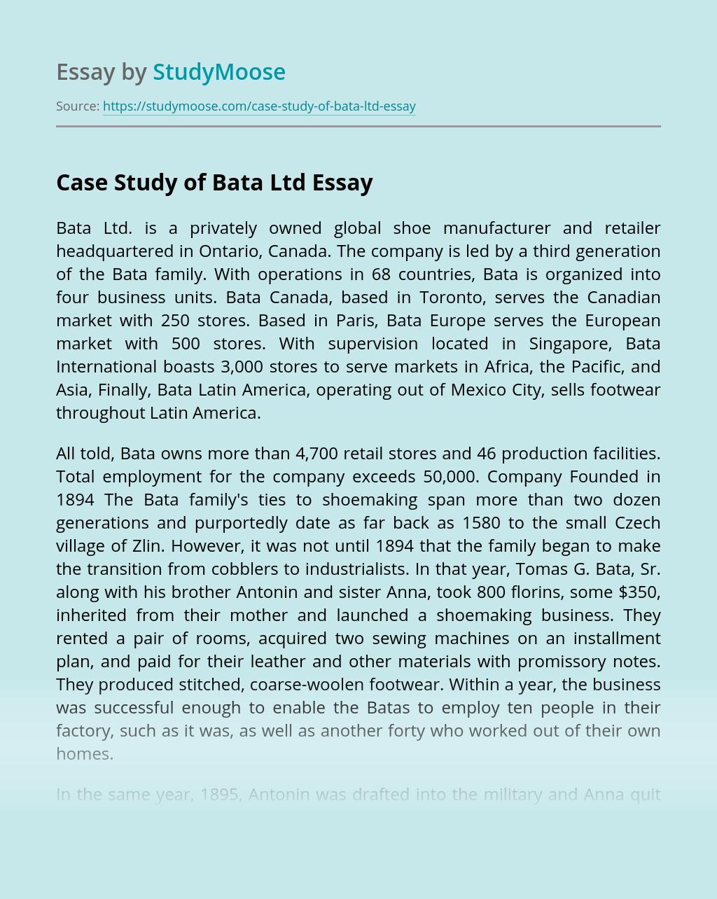 Case Study of Bata Ltd
