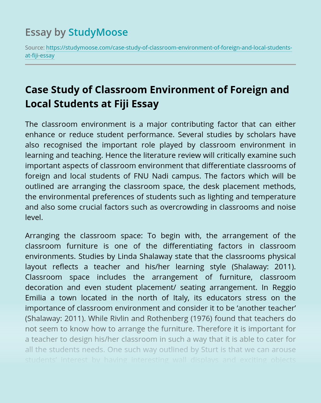 Case Study of Classroom Environment of Foreign and Local Students at Fiji