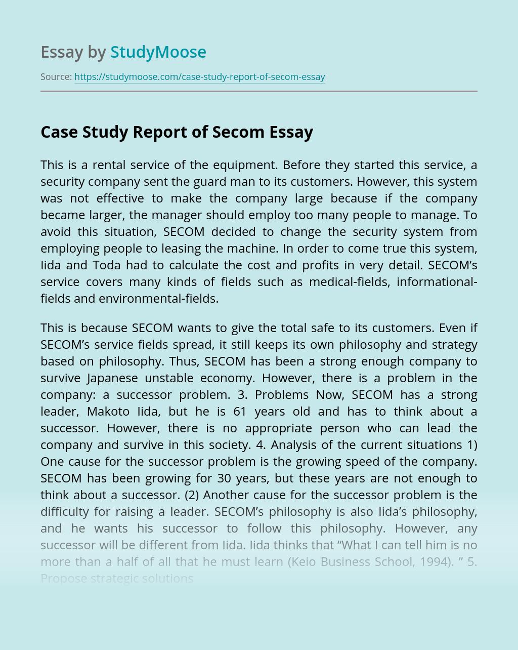 Case Study Report of Secom