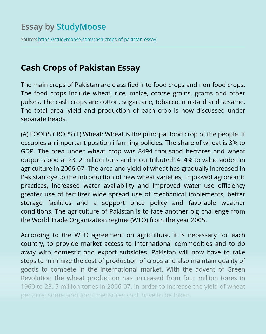 Cash Crops of Pakistan