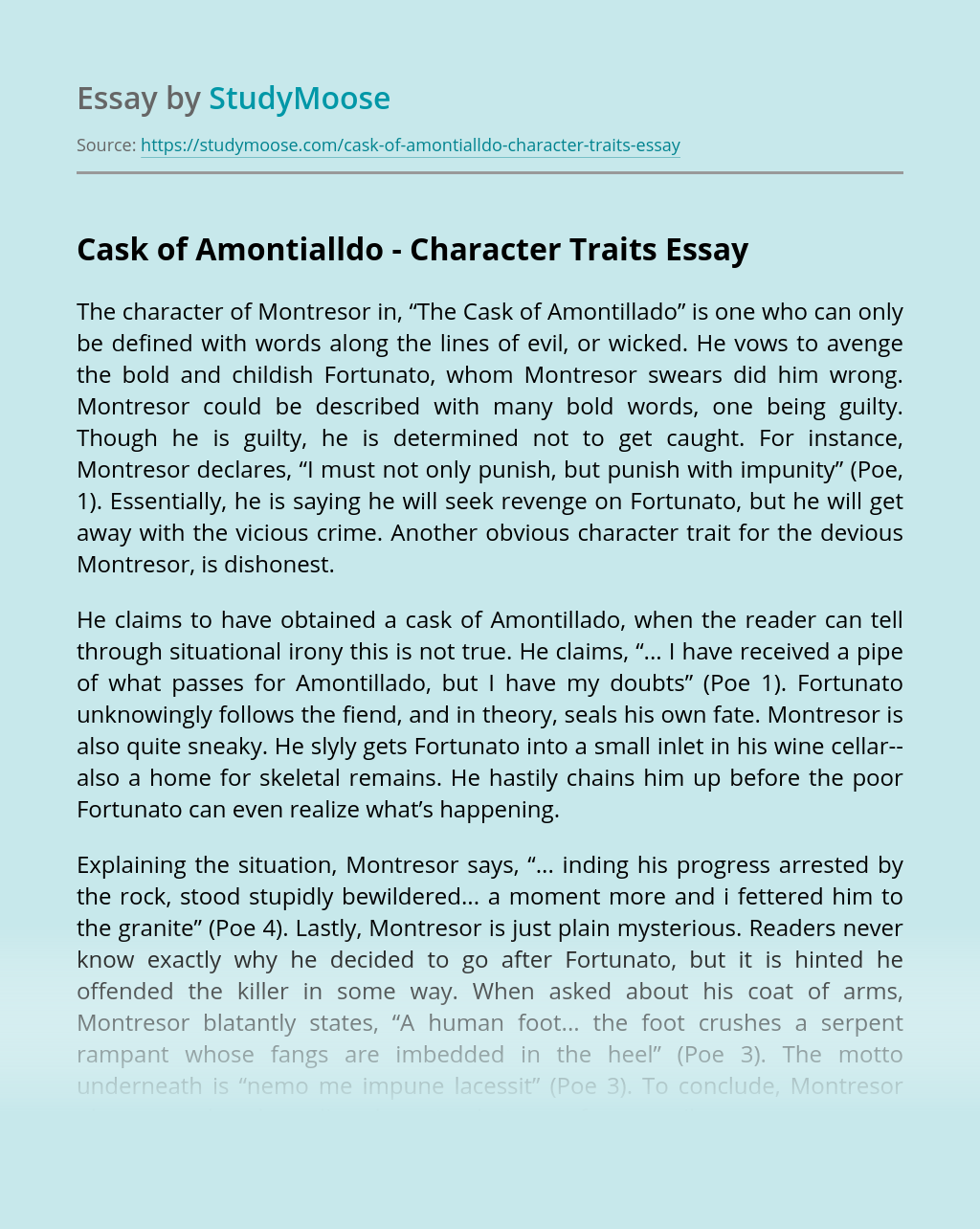 Cask of Amontialldo – Character Traits