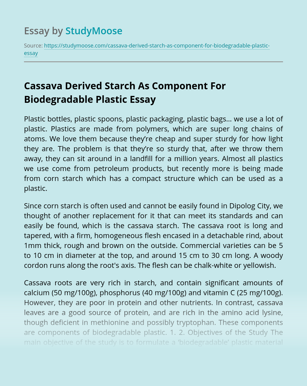 Cassava Derived Starch As Component For Biodegradable Plastic