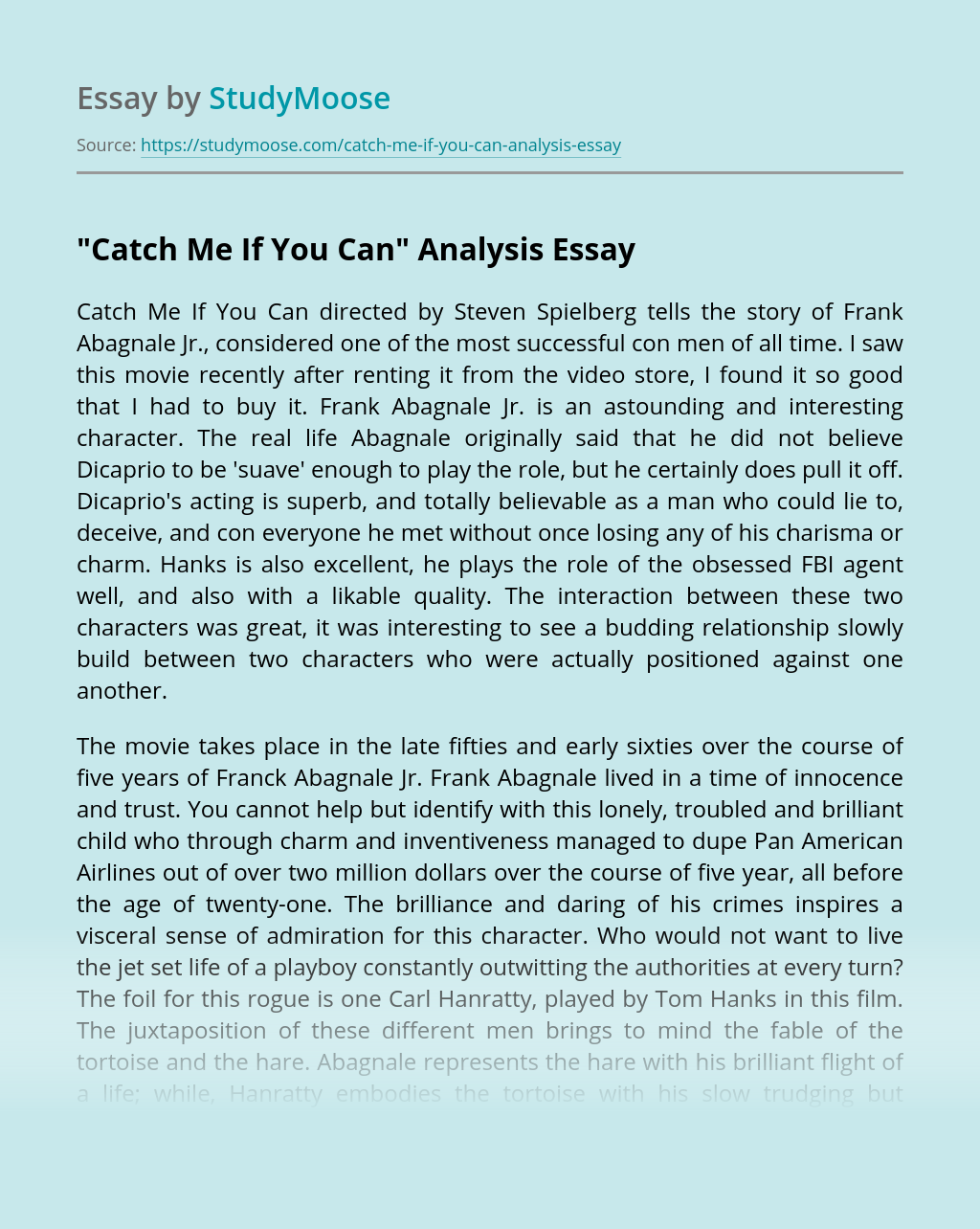 """Catch Me If You Can"" Analysis"