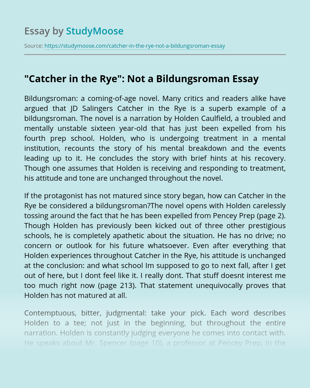 """Catcher in the Rye"": Not a Bildungsroman"