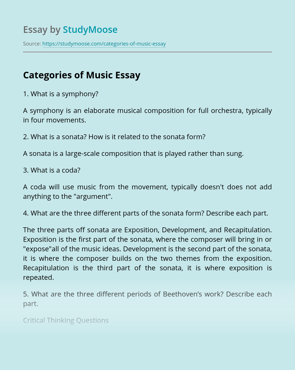 Categories of Music