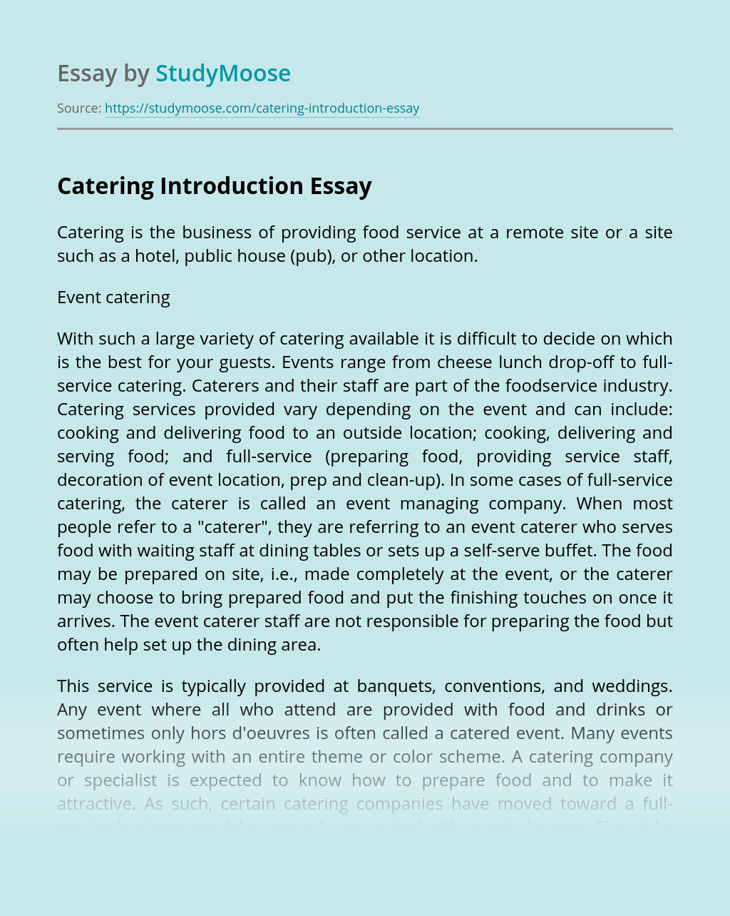 Catering Introduction