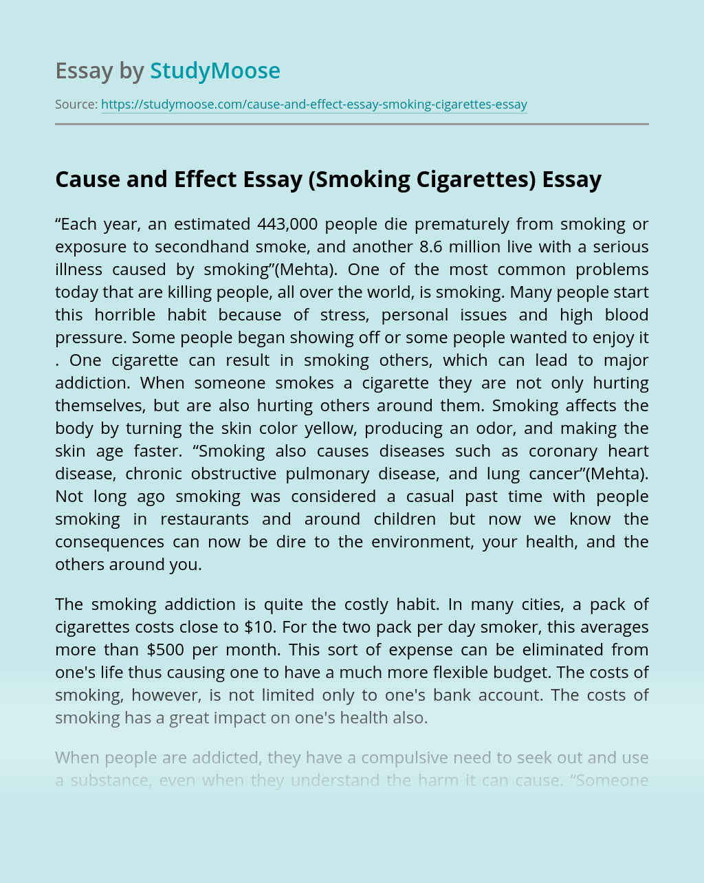 Cause And Effect Essay On Smoking