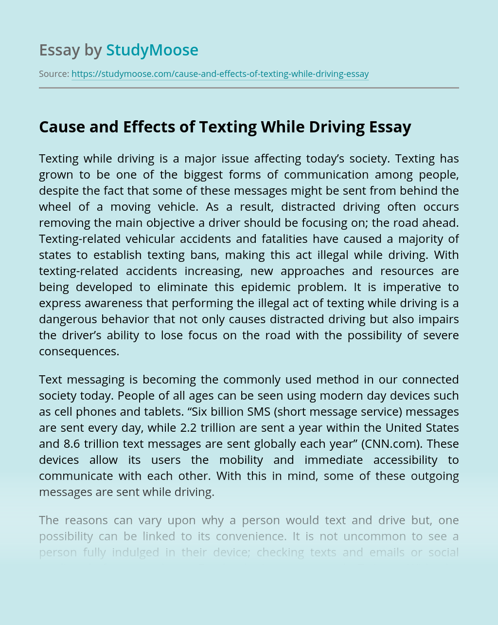 Cause and Effects of Texting While Driving