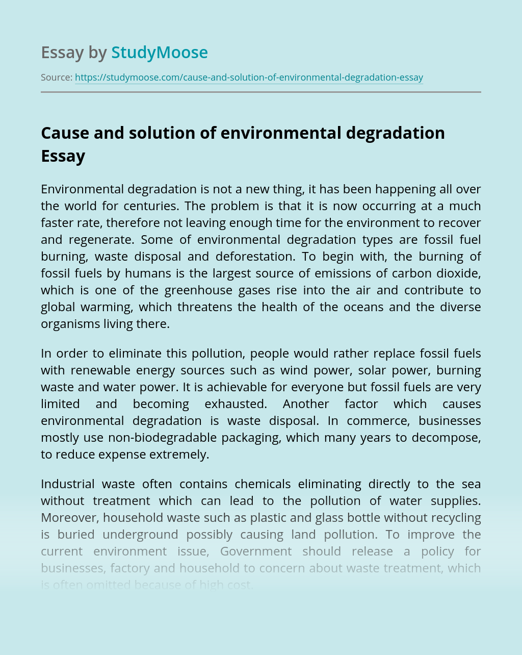 Cause and solution of environmental degradation