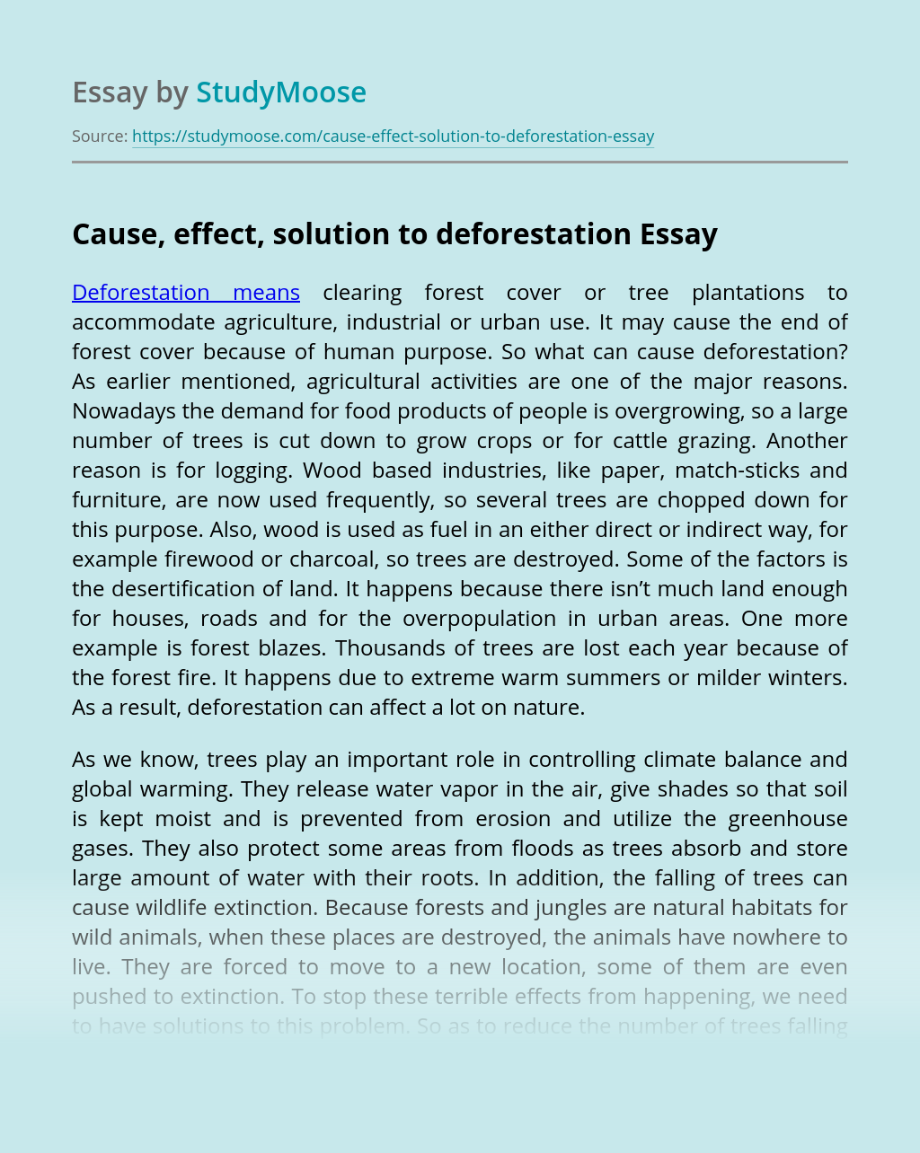 Cause, effect, solution to deforestation