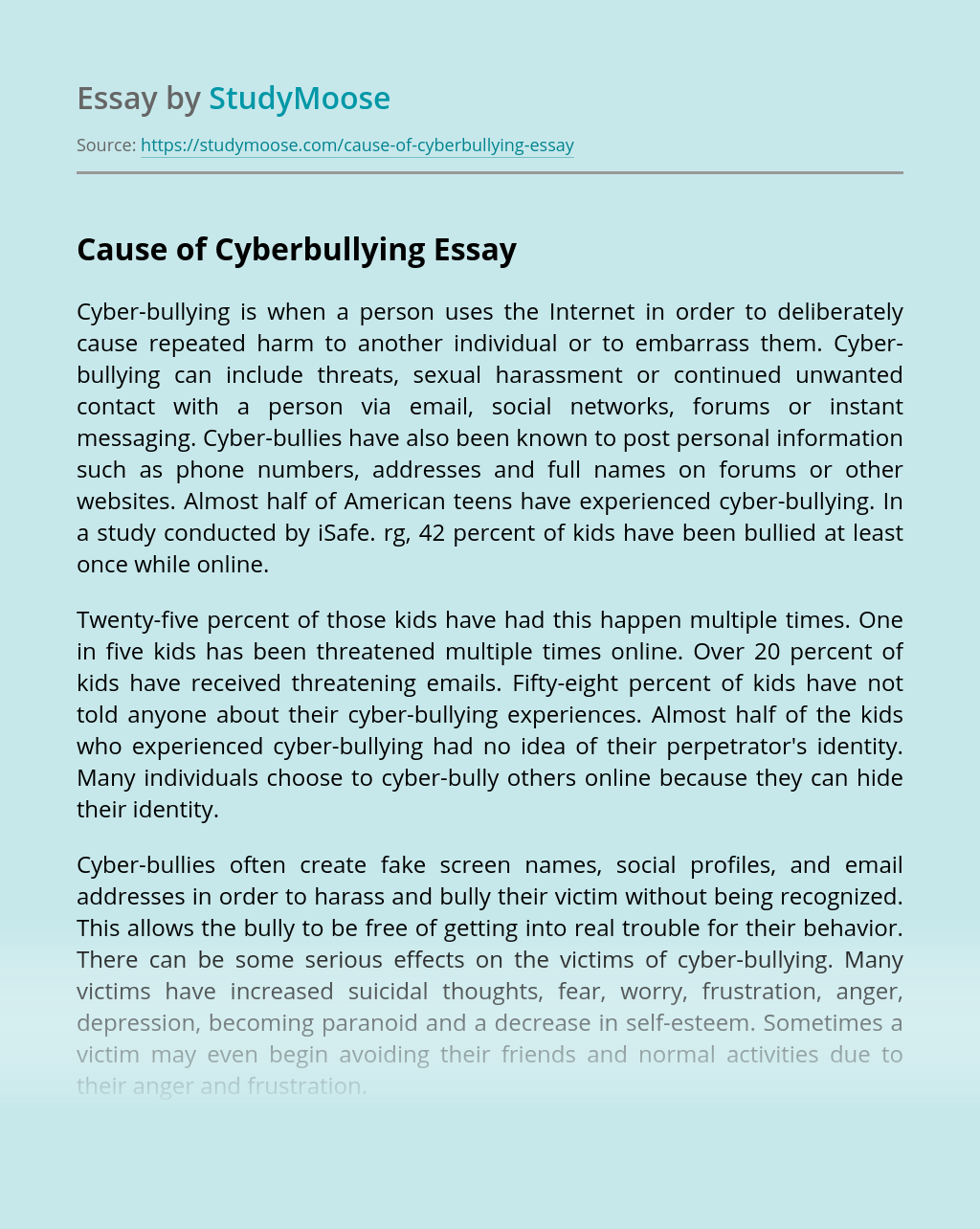Cause of Cyberbullying
