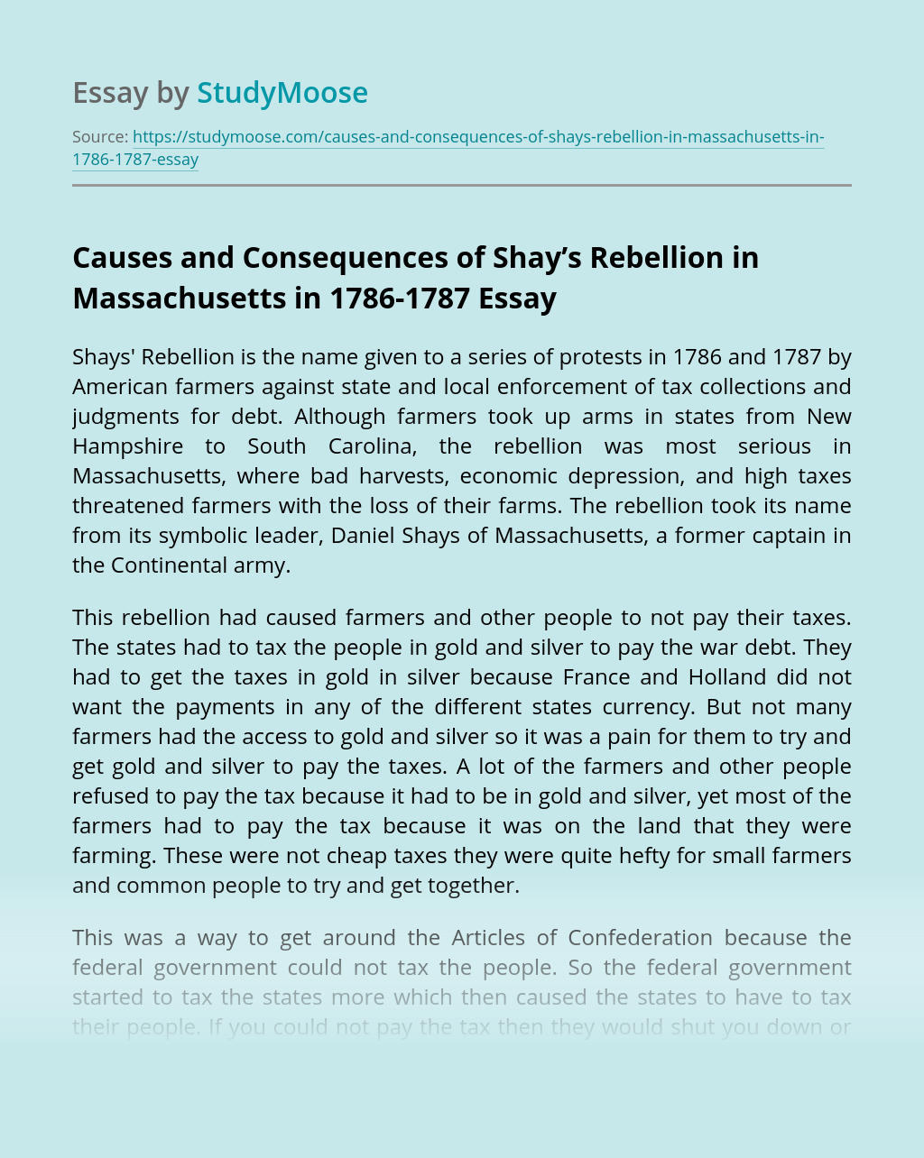 Causes and Consequences of Shay's Rebellion in Massachusetts in 1786-1787