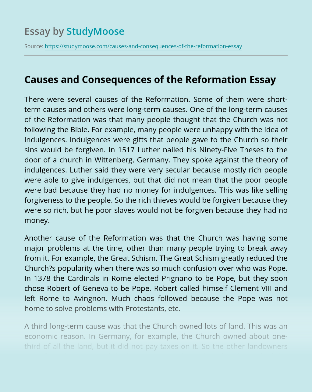 Causes and Consequences of the Reformation