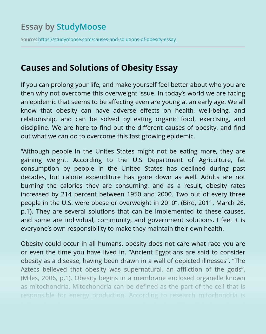 Causes and Solutions of Obesity