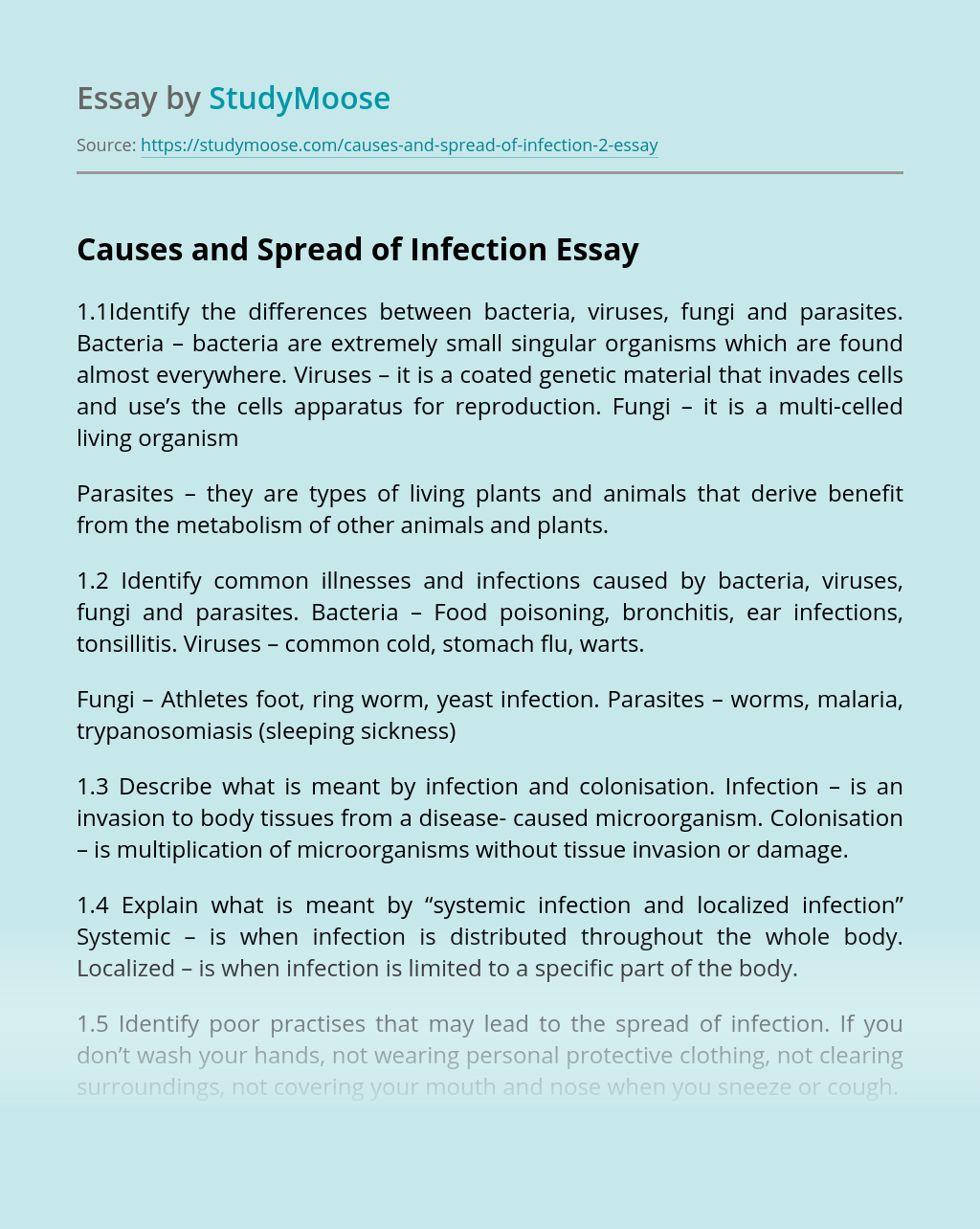Causes and Spread of Infection