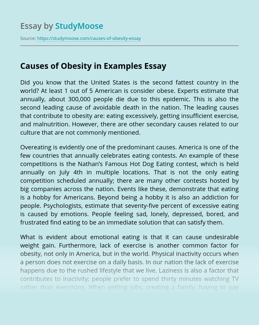 Causes of Obesity in Examples