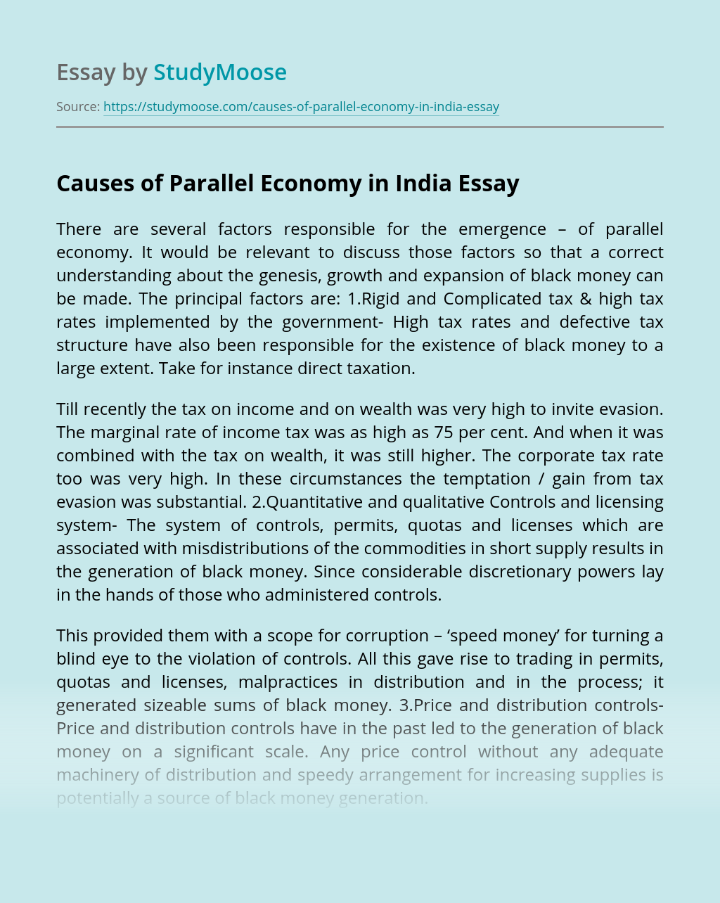 Causes of Parallel Economy in India