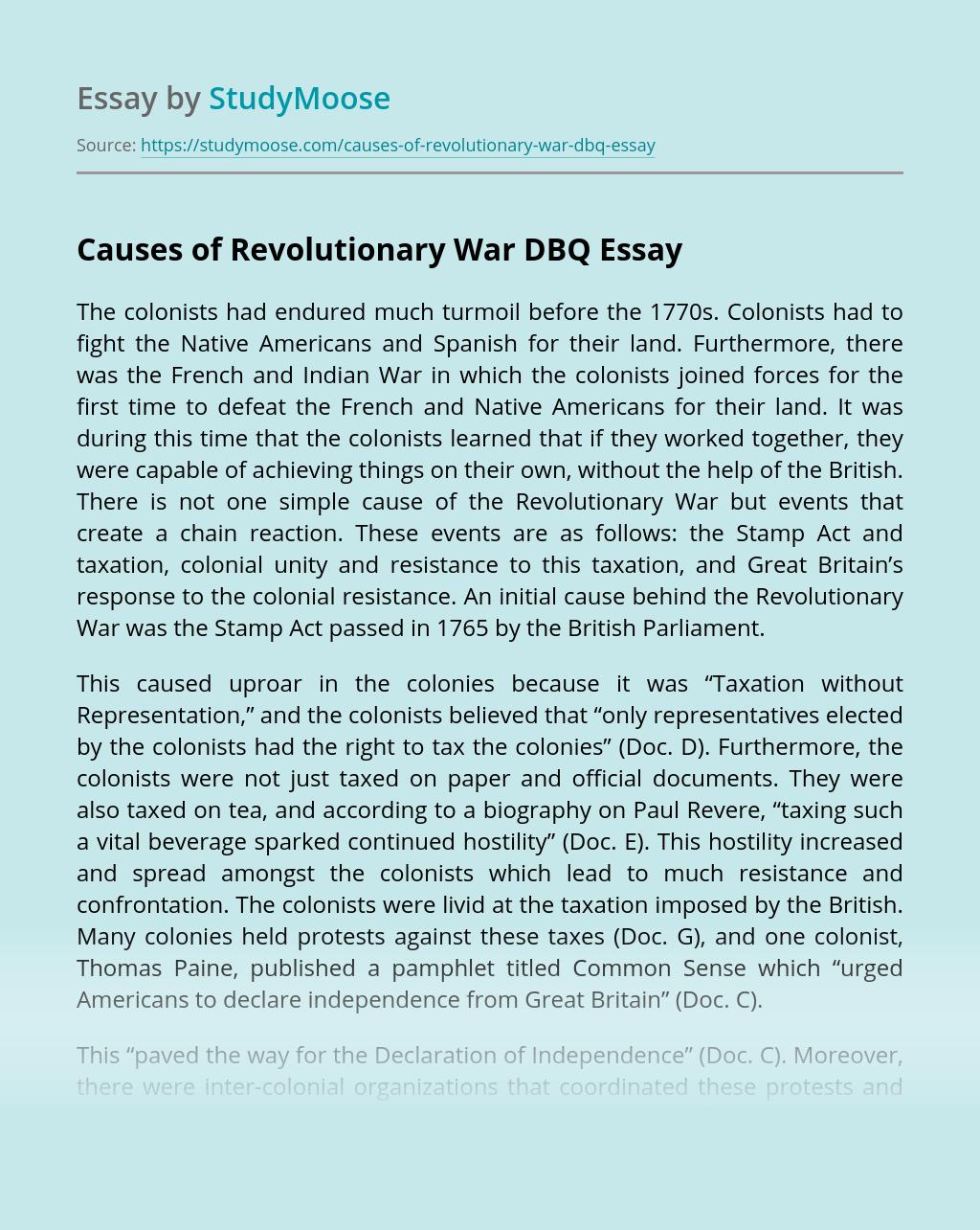 Causes of Revolutionary War DBQ