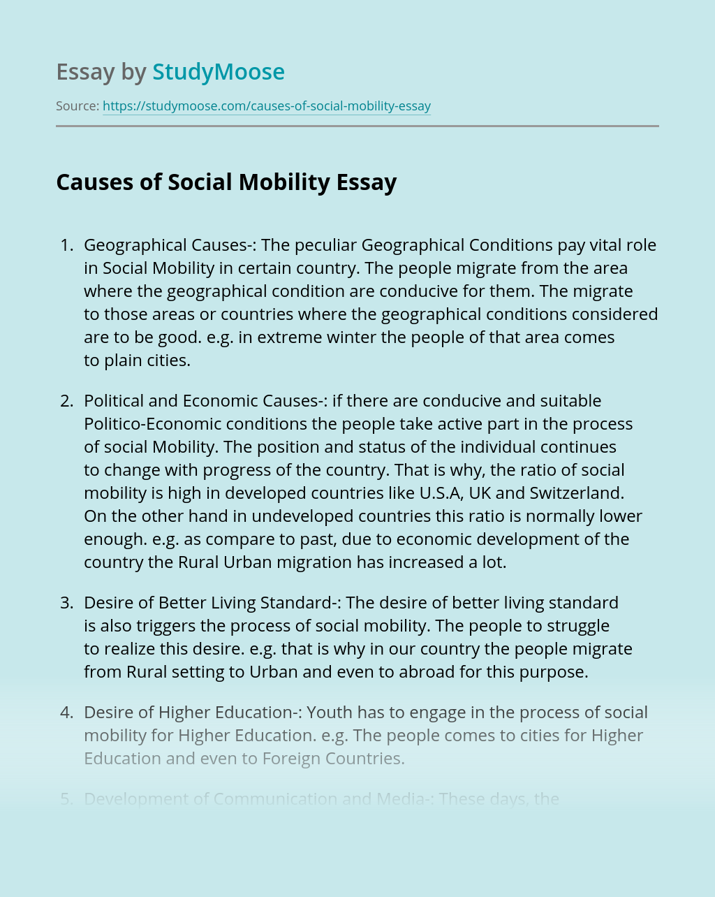 Causes of Social Mobility