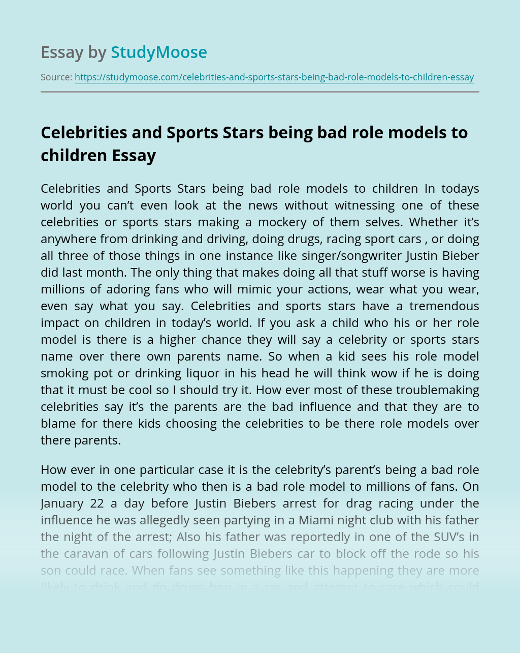 Celebrities and Sports Stars being bad role models to children