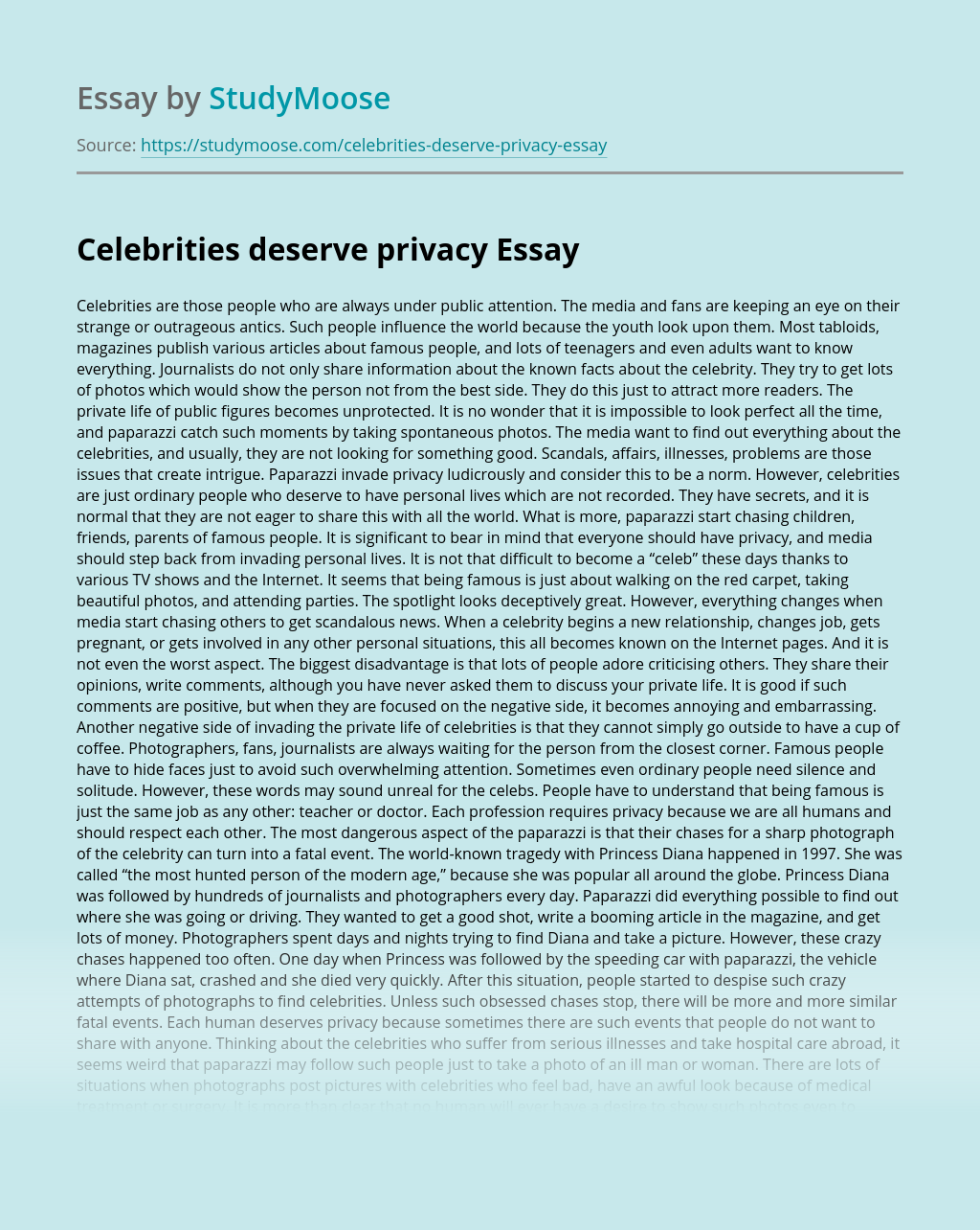 Celebrities deserve privacy