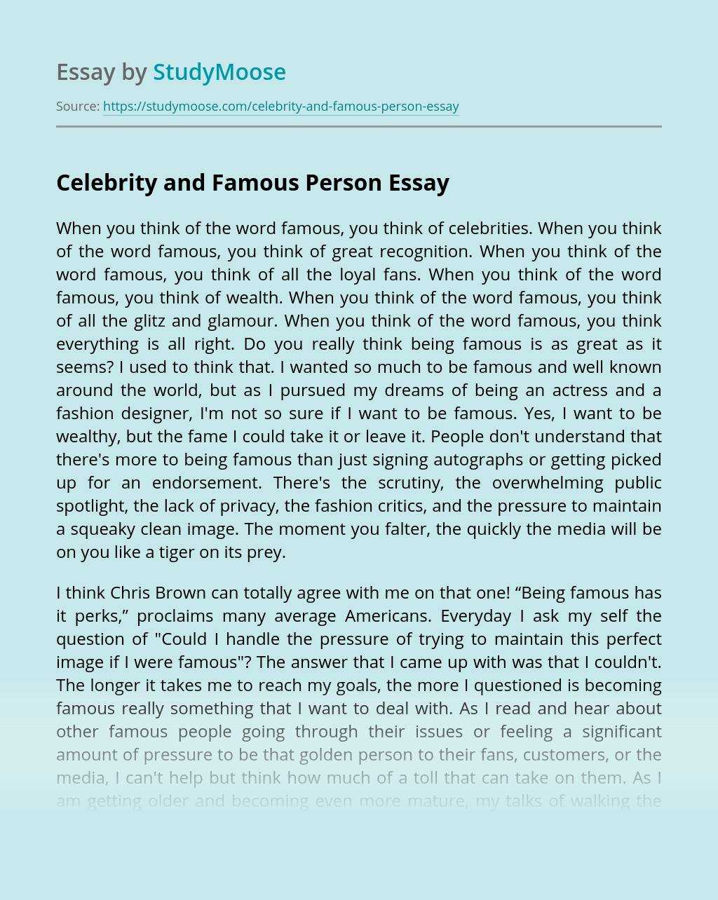 Essay About Celebrity