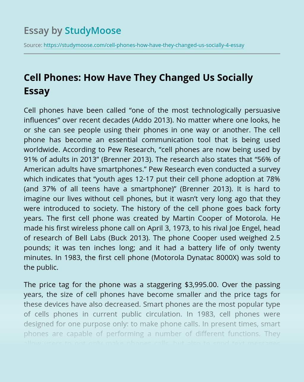 Positive and Negative Impacts of Cell Phones
