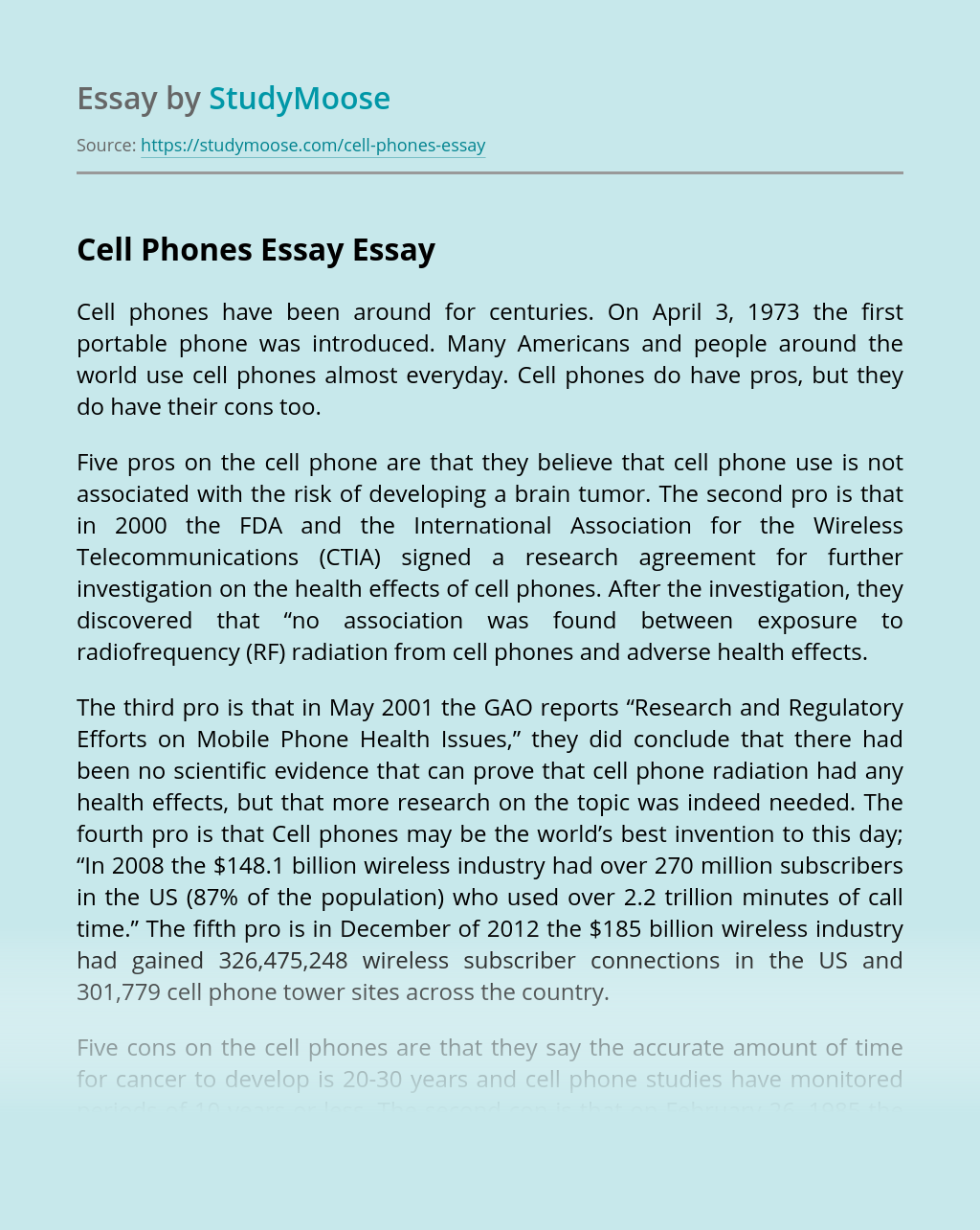 Cell Phones Essay