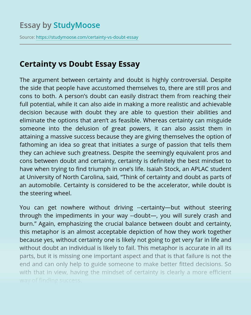 Essays on the relationship between certainty and doubt nursing entry level cover letter samples