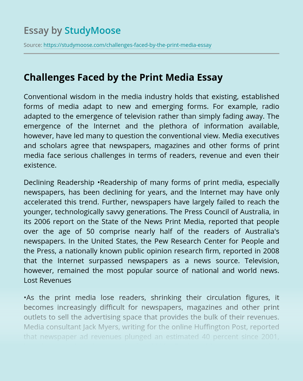 Challenges Faced by the Print Media