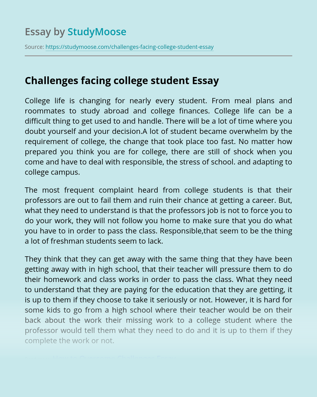Essay about life challenges