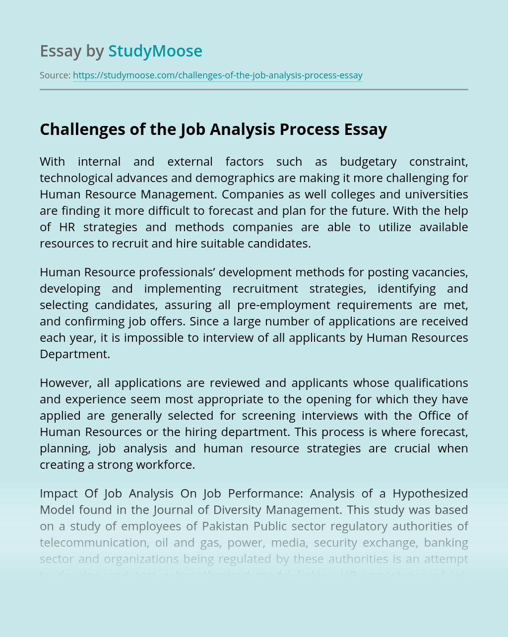 Challenges of the Job Analysis Process