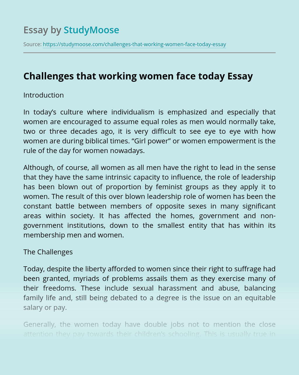 Challenges that working women face today