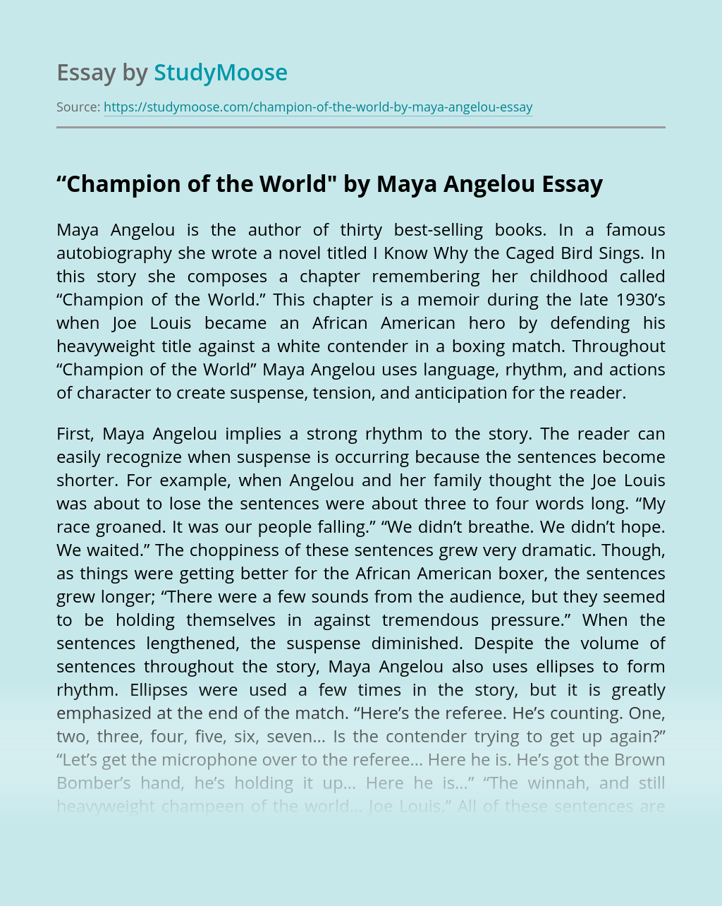 """Champion of the World"" by Maya Angelou"