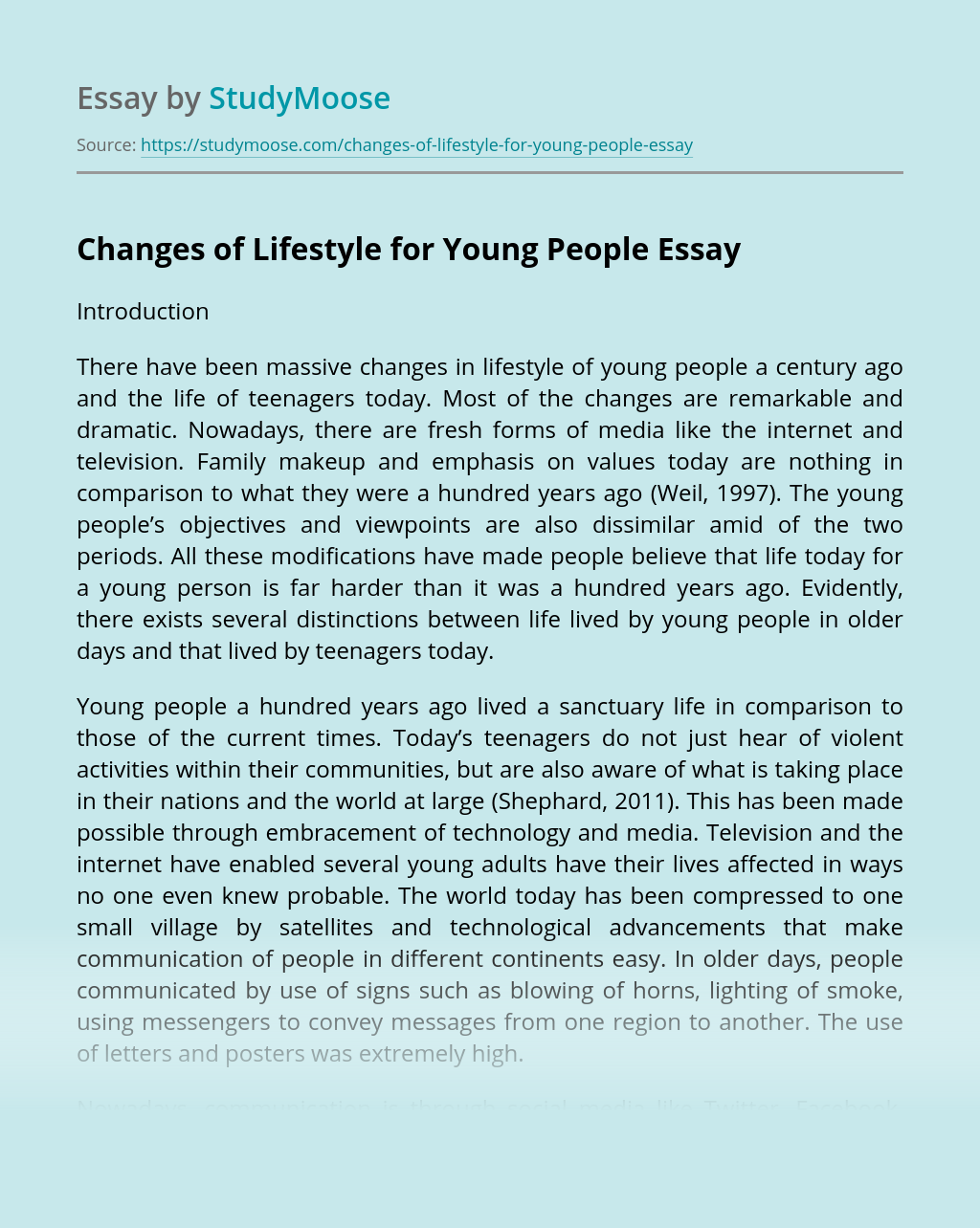 Changes of Lifestyle for Young People