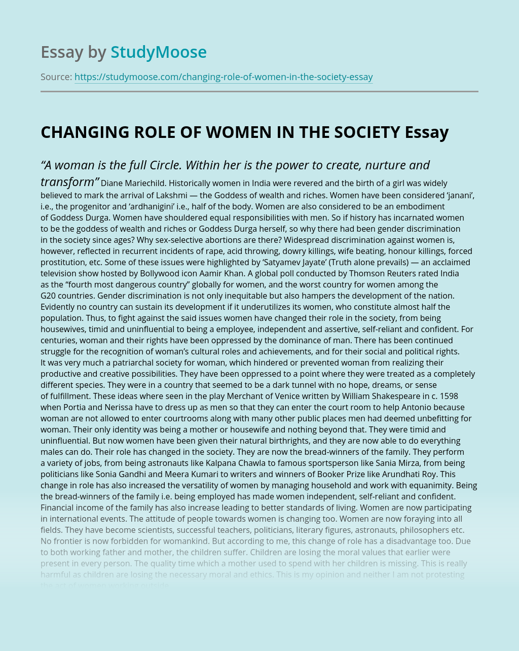 CHANGING ROLE OF WOMEN IN THE SOCIETY
