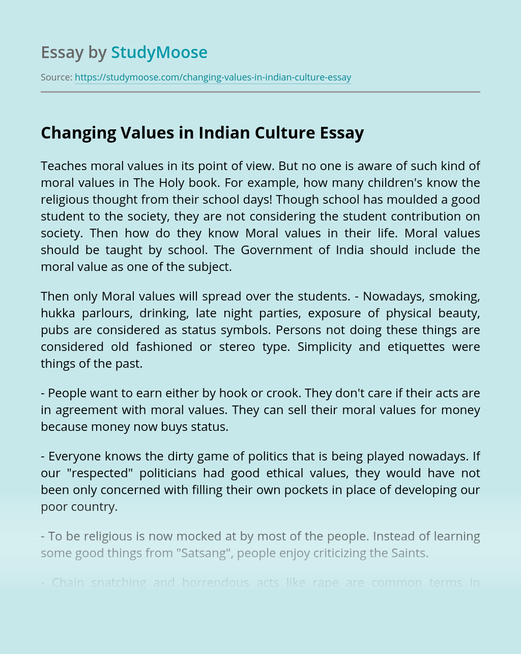 Changing Values in Indian Culture