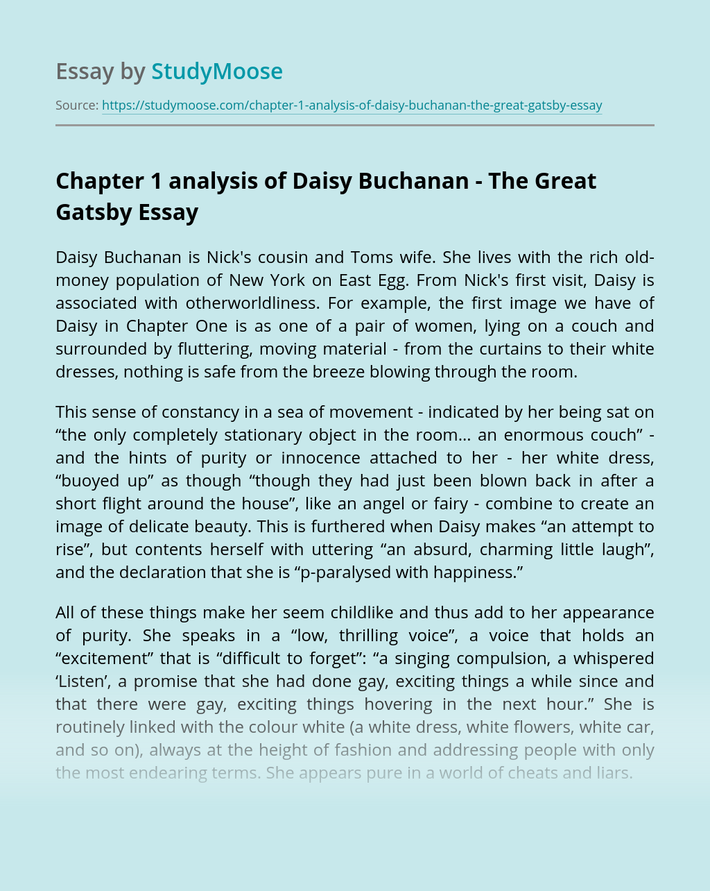 Chapter 1 analysis of Daisy Buchanan – The Great Gatsby