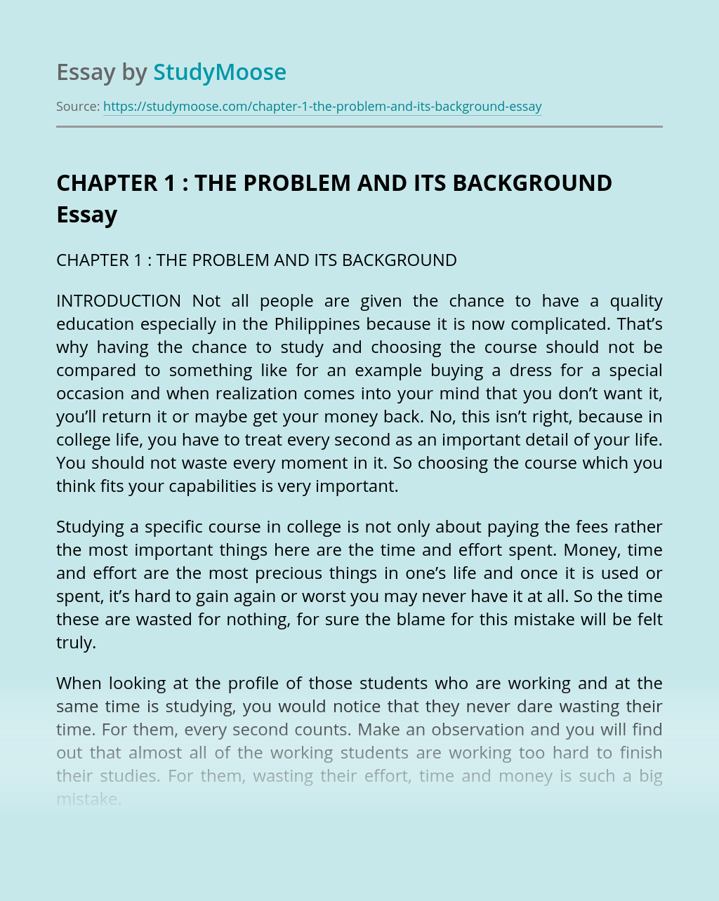 CHAPTER 1 : THE PROBLEM AND ITS BACKGROUND