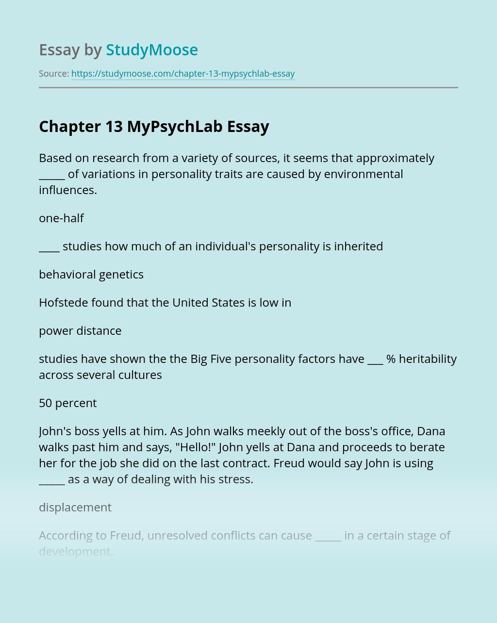 Chapter 13 MyPsychLab
