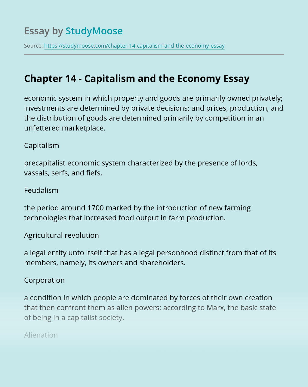 Chapter 14 - Capitalism and the Economy