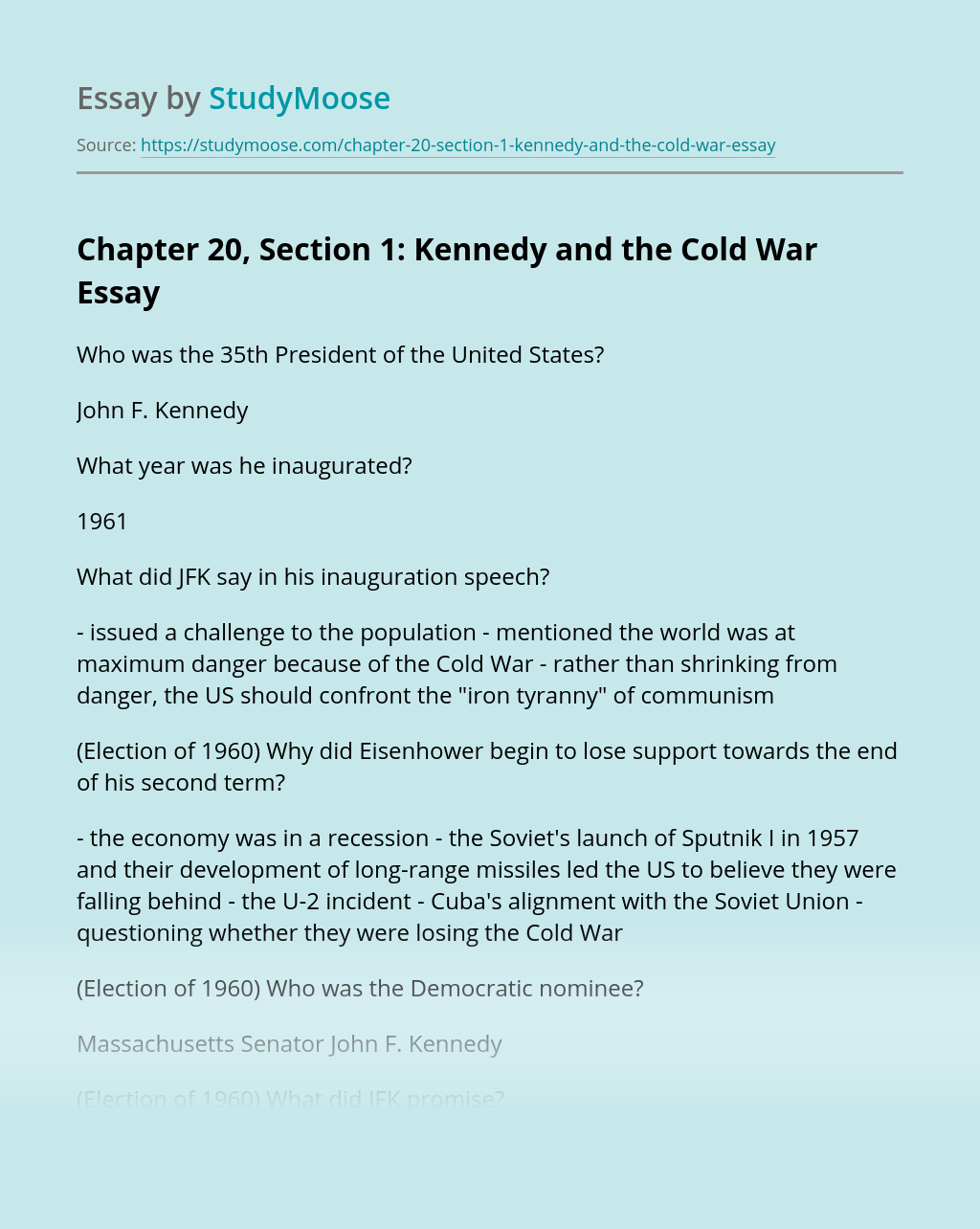 Chapter 20, Section 1: Kennedy and the Cold War