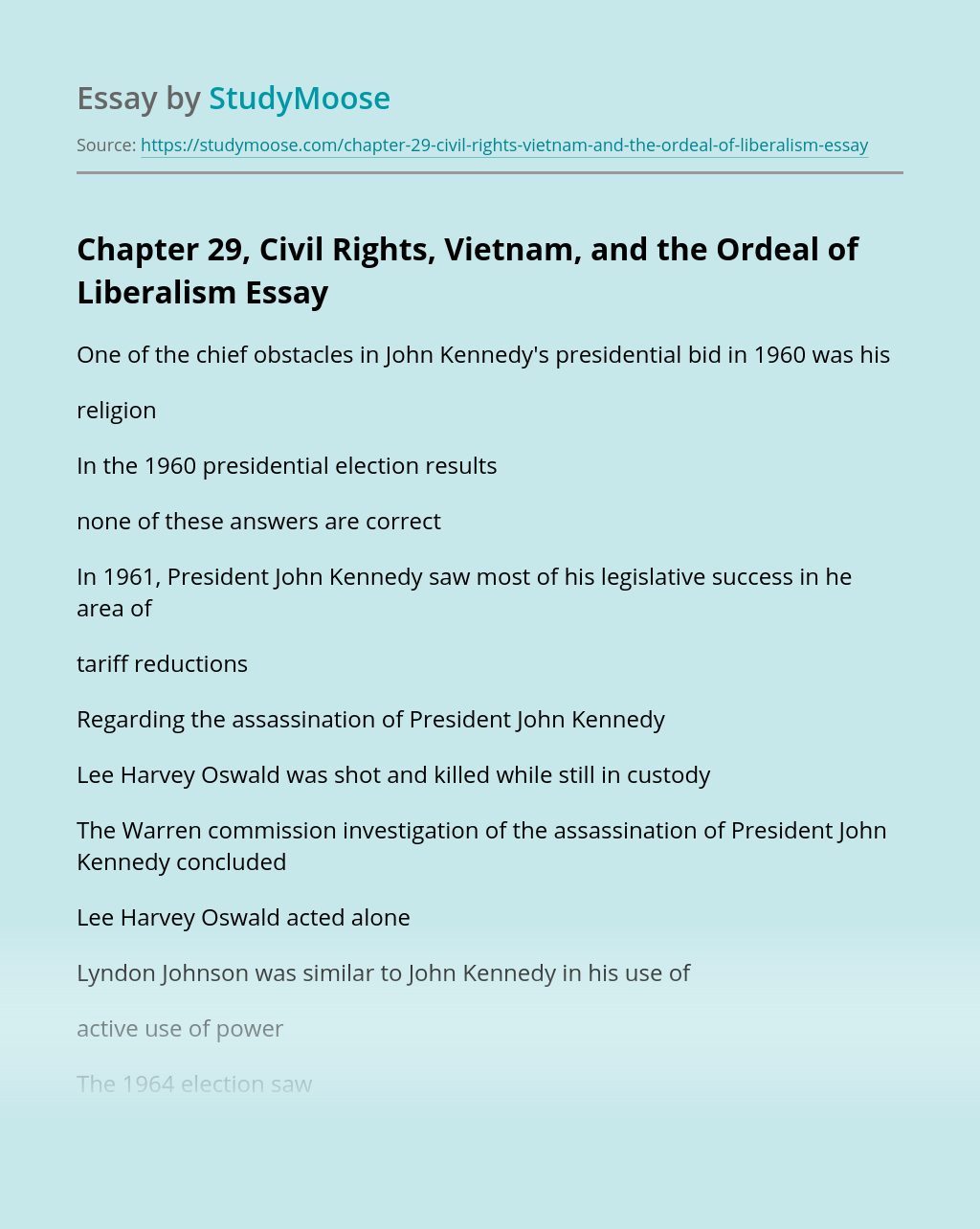 Chapter 29, Civil Rights, Vietnam, and the Ordeal of Liberalism