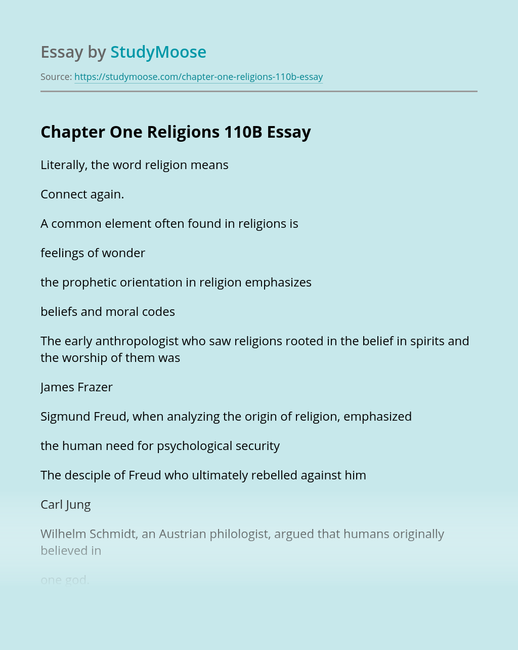 Chapter One Religions 110B