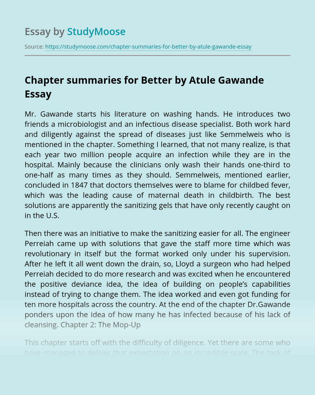 Chapter Summaries for Better by Atule Gawande
