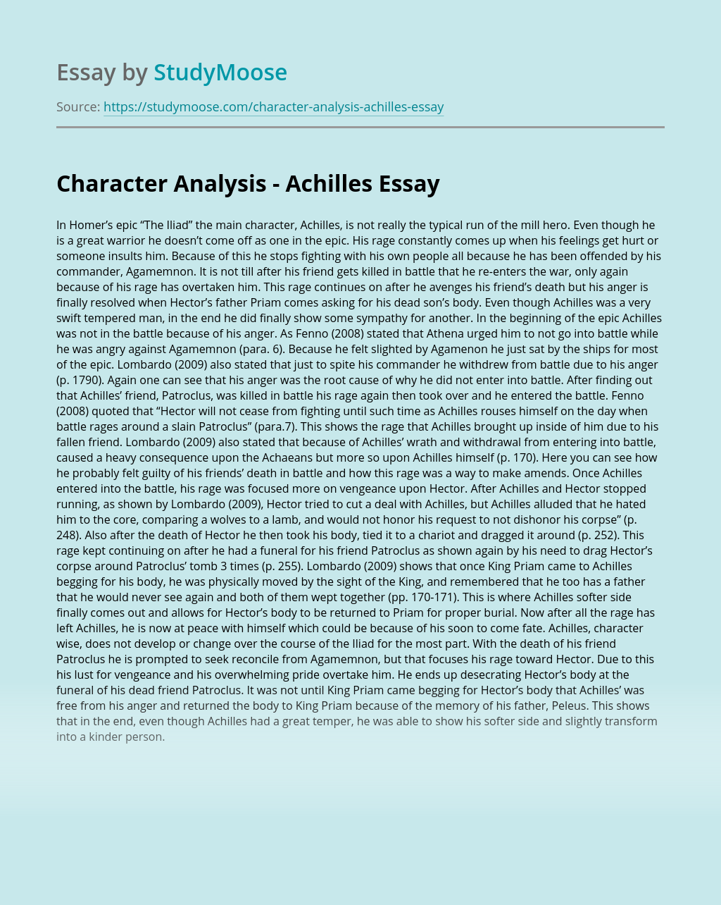 Character Analysis - Achilles